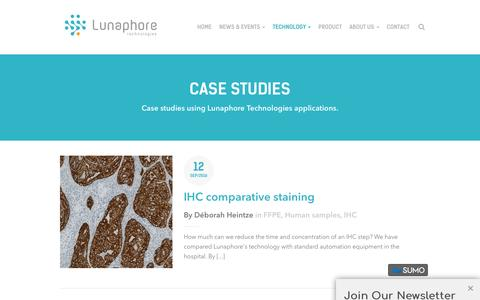 Screenshot of Case Studies Page lunaphore.ch - Case studies - Lunaphore Technologies We build tumor analysis platforms performing immunohistochemistry using microfluidic technology - captured May 24, 2017
