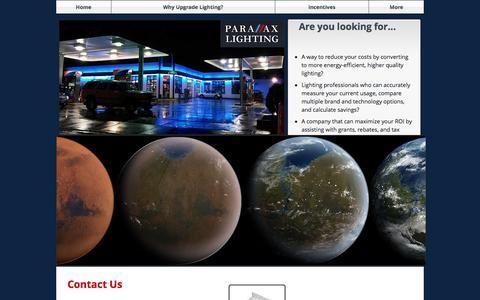 Screenshot of Contact Page parallaxlighting.com - Contact Us - captured May 14, 2017