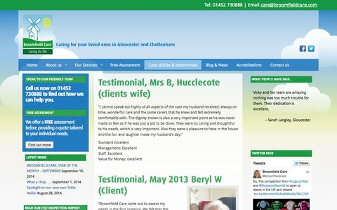 Screenshot of Case Studies Page broomfieldcare.com - In-Home care - case studies and testimonials - captured Sept. 30, 2014