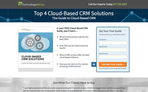 Screenshot of Landing Page technologyadvice.com - 2014 Cloud-Based CRM Guide | TechnologyAdvice - captured Oct. 27, 2014