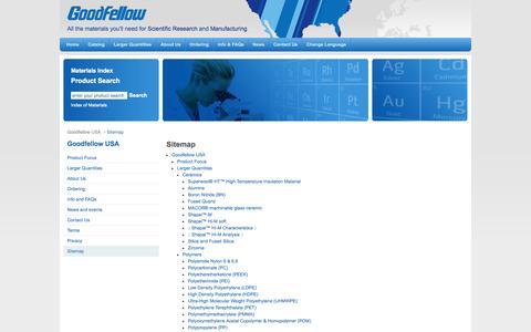 Screenshot of Site Map Page goodfellowusa.com - Sitemap - GoodfellowUSA - captured Oct. 3, 2014