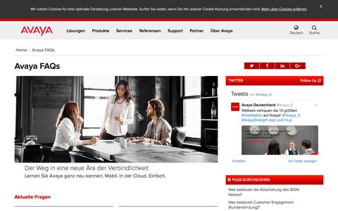 Screenshot of FAQ Page avaya.com - Avaya FAQ - Häufig gestellte Fragen – Avaya - captured March 10, 2017