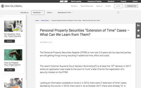 "Screenshot of Case Studies Page saiglobal.com - Personal Property Securities ""Extension of Time"" Cases – What Can We Learn from Them? - captured Dec. 12, 2019"