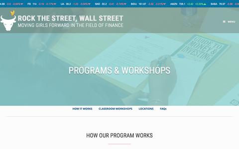 Screenshot of FAQ Page Locations Page rockthestreetwallstreet.com - Programs - Rock the Street, Wall Street - captured July 6, 2016
