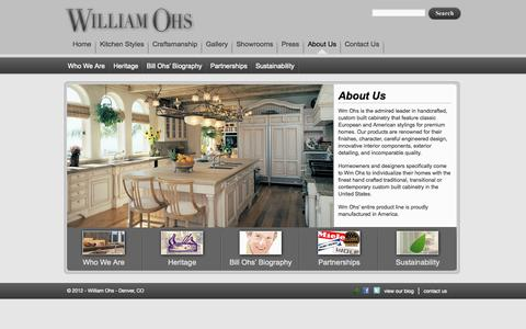 Screenshot of About Page wmohs.com - Custom Built Cabinetry | Wm Ohs - captured Oct. 7, 2014