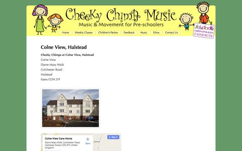 Screenshot of Maps & Directions Page cheekychimpsmusic.co.uk - Colne View, Halstead - - captured Dec. 8, 2015