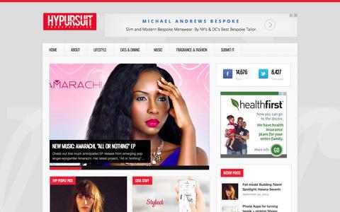 Screenshot of Home Page hypursuit.com - HyPursuit | Creativity, LifeStyle & Marketing - captured Oct. 3, 2014