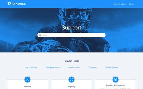 Screenshot of Support Page zendesk.com - FanDuel Support Center - captured May 17, 2019