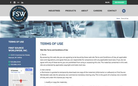 Screenshot of Terms Page fsw.cc - Terms of Use | First Source Worldwide, LLC - captured Nov. 25, 2016
