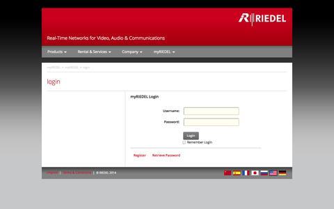 Screenshot of Login Page riedel.net - RIEDEL.net > myRIEDEL > myRIEDEL > login - captured Sept. 23, 2014
