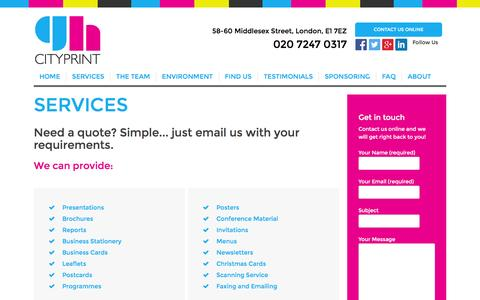 Screenshot of Services Page ghcityprint.co.uk - Services - GH Cityprint - captured Dec. 6, 2015