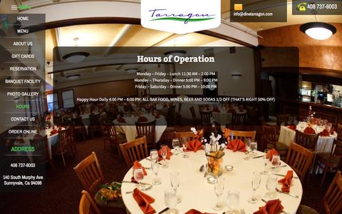 Screenshot of Hours Page dinetarragon.com - Hours | Dine Tarragon - captured Nov. 29, 2016