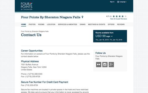 Screenshot of Contact Page starwoodhotels.com - Contact Us | Four Points by Sheraton Niagara Falls - captured Jan. 18, 2018