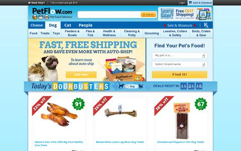 Screenshot of Home Page petflow.com - Pet Supplies: cat and dog food, toys, treats | Pet products from PetFlow.com - captured July 11, 2014
