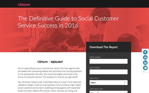 Screenshot of Landing Page lithium.com - The Definitive Guide to Social Customer Service Success in 2016 | Lithium Resources - captured March 21, 2016