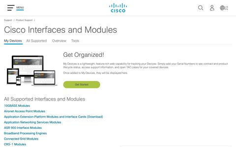 Screenshot of Support Page cisco.com - Interfaces and Modules - Support and Downloads - Cisco - captured May 10, 2019