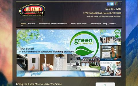 Screenshot of Home Page alterryplumbing.com - Heating, Plumbing & Air Conditioning Services - New Hampshire | Al Terry Plumbing & Heating - captured Oct. 4, 2014