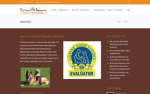 Screenshot of Services Page perfectdogtraining.com - Perfect Manners Dog Training - Naperville Dog Training Services - captured July 3, 2018