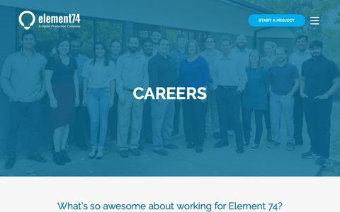 Screenshot of Jobs Page element74.com - Careers at Element 74 - Work with Us - captured Feb. 28, 2019