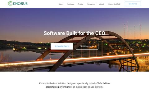 Screenshot of Home Page khorus.com - Khorus | Software Built for the CEO - captured May 14, 2017