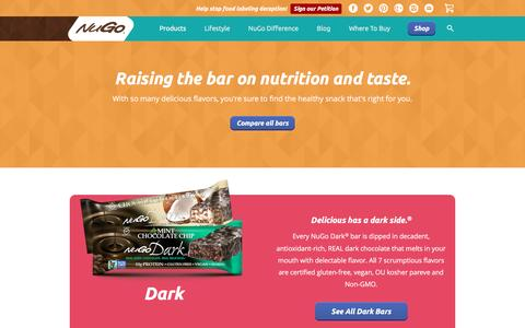 Screenshot of Products Page nugonutrition.com - Low Sugar Protein Bars | Gluten Free Protein Bars | Organic Protein Bars | Products - NuGo - captured Dec. 5, 2016