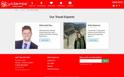 Screenshot of About Page Team Page letstakethekidstravel.com - Our Team | Lets Take the Kids - captured Sept. 28, 2018