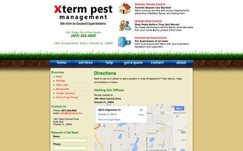 Screenshot of Maps & Directions Page xtermpest.com - Orlando Pest Control / Xterm Pest Management / Directions - captured Oct. 27, 2014