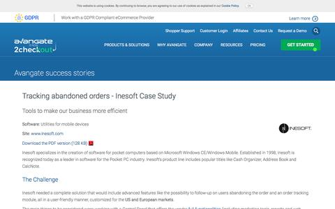 Screenshot of Case Studies Page avangate.com - Tracking abandoned orders - Inesoft Case Study - captured May 21, 2018