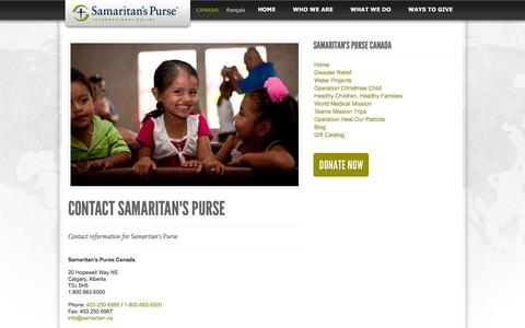 Screenshot of Contact Page samaritanspurse.ca - Contact Samaritan's Purse - captured Feb. 4, 2016