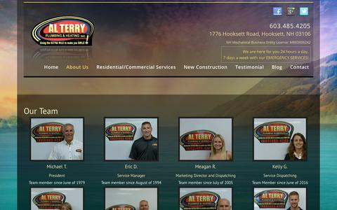Screenshot of Team Page alterryplumbing.com - Our Team | Alterry Plumbing & Heating INC - captured Oct. 3, 2018