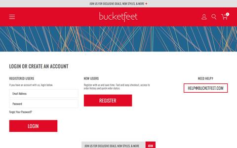 Screenshot of Login Page bucketfeet.com - Customer Login - captured June 16, 2015