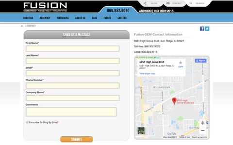 Screenshot of Contact Page fusionoem.com - Contact Fusion OEM | Fusion OEM - Chicago, IL - captured Aug. 6, 2019