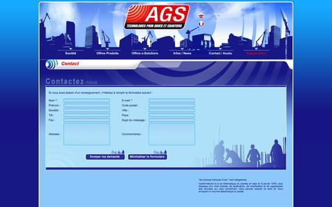 Screenshot of Contact Page ags-btp.com - Contactez AGS - Automatisme Grue Sécurité - captured Oct. 4, 2014