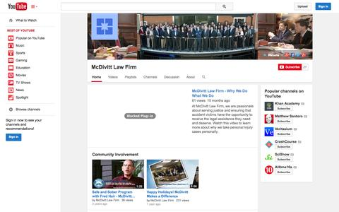 Screenshot of YouTube Page youtube.com - McDivitt Law Firm  - YouTube - captured Nov. 3, 2014