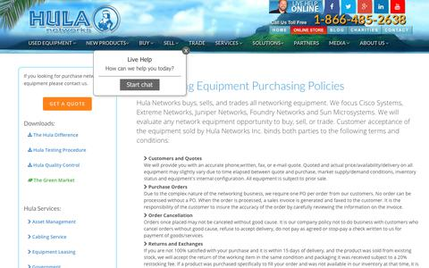 Screenshot of Terms Page hulanetworks.com - Policies For Purchasing Networking Equipment ~ Hula Networks - captured July 24, 2018