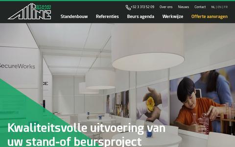 Screenshot of Home Page alline.be - Alline Standbouw – standenbouw voor een succesvolle beurspresentatie - captured Nov. 12, 2018
