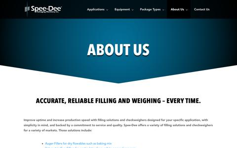 Screenshot of About Page spee-dee.com - Spee-Dee After Market Support | Auger Filler Support | Spee-Dee - captured Feb. 11, 2019
