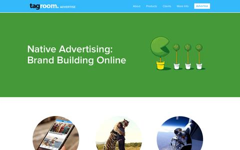 Screenshot of Home Page tagroomadvertising.com - Tagroom Advertise – Native Advertising & Premium Display Units - captured Jan. 29, 2015