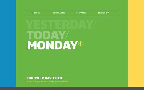 Screenshot of Home Page druckerinstitute.com - The Drucker Institute - captured Sept. 22, 2014