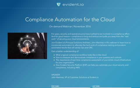 Screenshot of Landing Page evident.io - Compliance Automation for the Cloud - On-demand Webinar - captured May 16, 2017