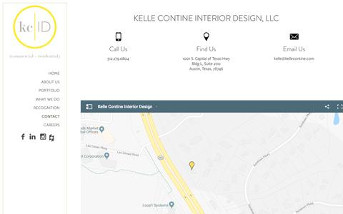 Screenshot of Contact Page kellecontine.com - Interior Design Firm - Kelle Contine - captured Oct. 15, 2018