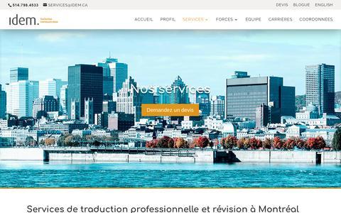 Screenshot of Services Page idem.ca - Services de traduction professionnelle et révision à Montréal |Idem Traduction - captured Oct. 14, 2017