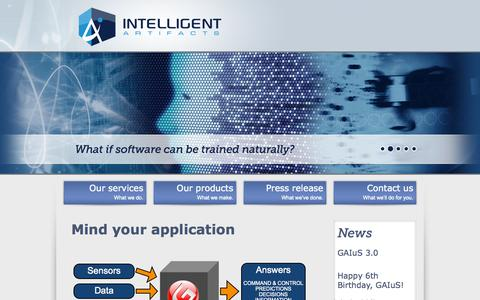 Screenshot of Home Page intelligent-artifacts.com - Intelligent Artifacts | Mind your application. - captured Sept. 30, 2014
