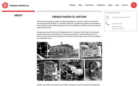 Screenshot of About Page frenchpaper.com - About - captured June 29, 2018