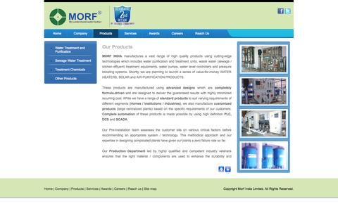 Screenshot of Products Page morfindia.com - Water Treatment & Purification Products Chennai - Morf India - captured Oct. 1, 2014