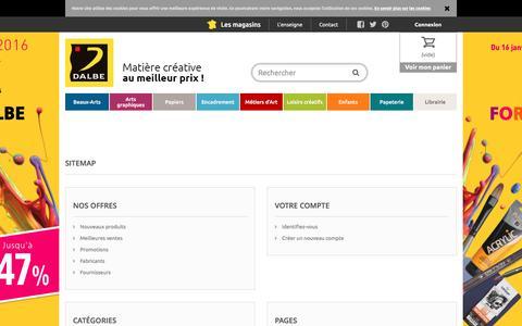 Screenshot of Site Map Page dalbe.fr - Plan du site - Dalbe - Fournitures beaux arts, peinture, dessin et loisirs créatifs - captured Jan. 15, 2016