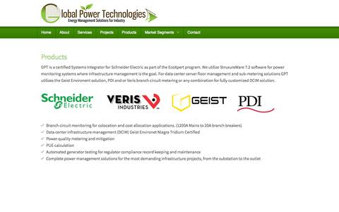 Screenshot of Products Page gptllc.com - Global Power Technologies - captured Nov. 2, 2014