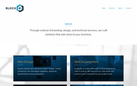 Screenshot of Services Page block81.com - Web Design, Branding, Digital Marketing Services | Block 81 - captured Aug. 2, 2018