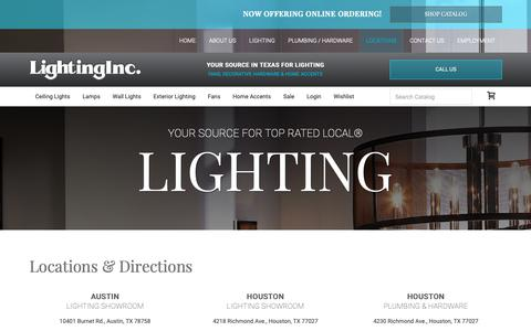 Screenshot of Locations Page lightinginc.com - Lighting Store Texas | Lighting Designer TX | Lighting Supplier - Lighting Inc - captured Sept. 28, 2018