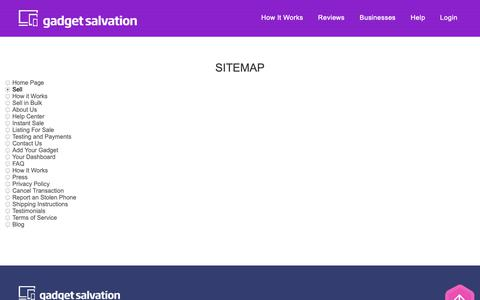 Screenshot of Site Map Page gadgetsalvation.com - Sell Your Laptop & More For Cash! - captured Nov. 4, 2018